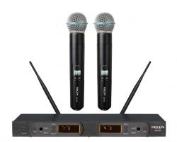 Decon - UHF Dijital Çift Anten00 100 Kanal Çift El Tipi Telsiz Mikrofon