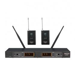 Decon - UHF Dijital Çift Anten 100 Kanal Çift Yaka Tipi Telsiz Mikrofon