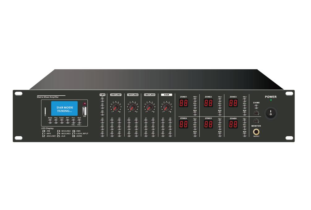 Decon - PA 6×6 Matrix Mixer Amplifier +USB/SD/FM/BLUETOOTH
