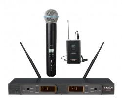 Decon - UHF Dijital Çift Anten 100 Kanal Bir El Bir Yaka Tipi Telsiz Mikrofon