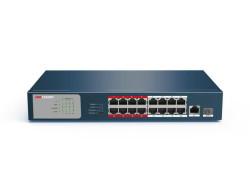 Hikvision - 16 Port 10/100 PoE + 1 Port Gigabit Uplink + 1 SFP Switch