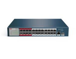 Hikvision - 24 Port 10/100 PoE + 1 Port Gigabit Uplink + 1 SFP Switch