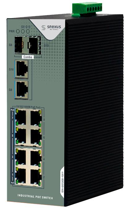 Snexus - 8 x 10/100/1000M PoE Port +2 x Gigabit Combo (SFP/RJ45) Port (240 Watt)