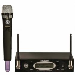 Topp Pro - UHF 144 Kanal Çift Anten Dijital Alıcı El Tipi Telsiz Mikrofon Seti