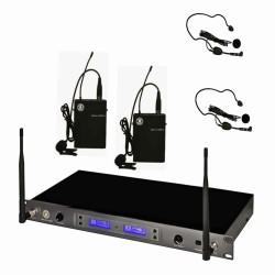 Topp Pro - UHF 100 Kanal Çift Anten Dijital Alıcı Çift Yaka - Headset Ve Entruman Tipi Telsiz Mikrofon Seti