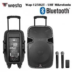 Westa - 12 inc Bataryalı 250Watt Aktif Kabin Hoparlör (2xUHF Mikrofon)
