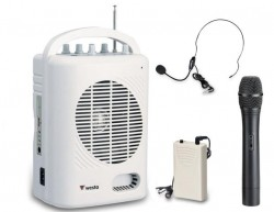 Westa - 50 Watt Yaka - El - Headset Tipi Telsiz Mikrofonlu Taşınabilir Şarjlı Akülü Hoparlör
