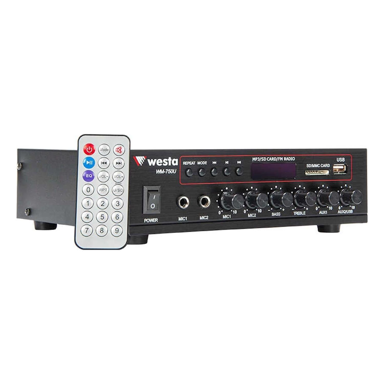 Westa - 80 Watt USB/MP3 Okuyuculu Hat Trafolu LCD Ekran Mikser Amplifier